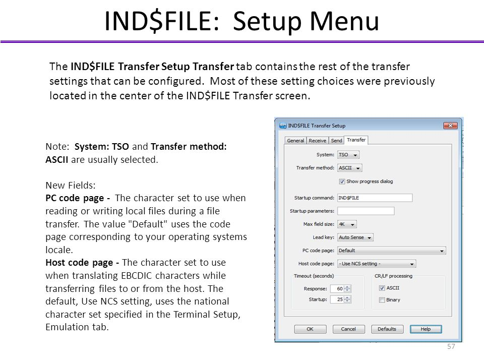 IND$FILE: Setup Menu The IND$FILE Transfer Setup Transfer tab contains the rest of the transfer settings that can be configured. Most of these setting