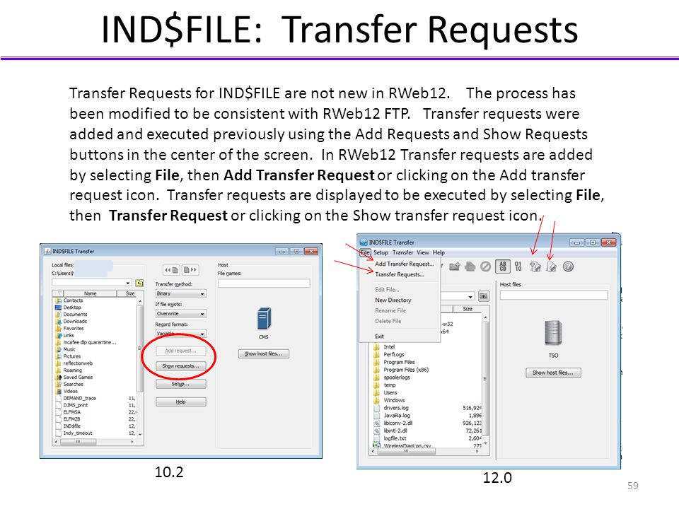 IND$FILE: Transfer Requests Transfer Requests for IND$FILE are not new in RWeb12. The process has been modified to be consistent with RWeb12 FTP. Tran