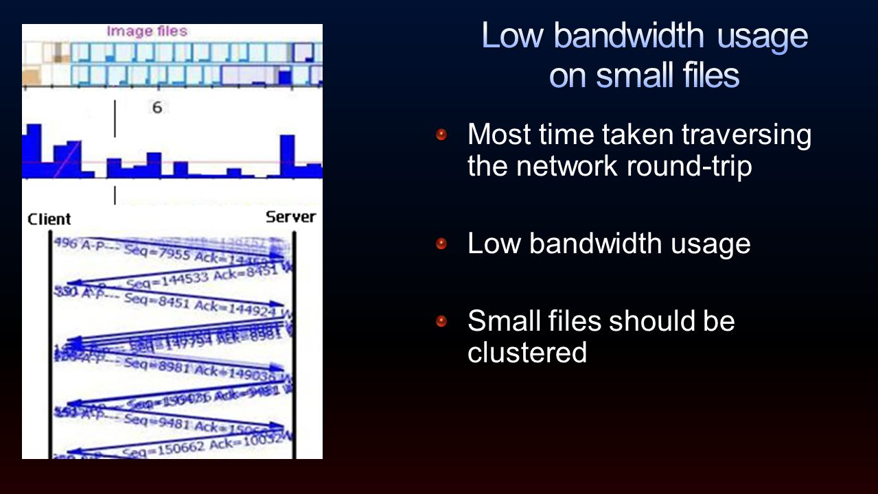 Most time taken traversing the network round-trip Low bandwidth usage Small files should be clustered