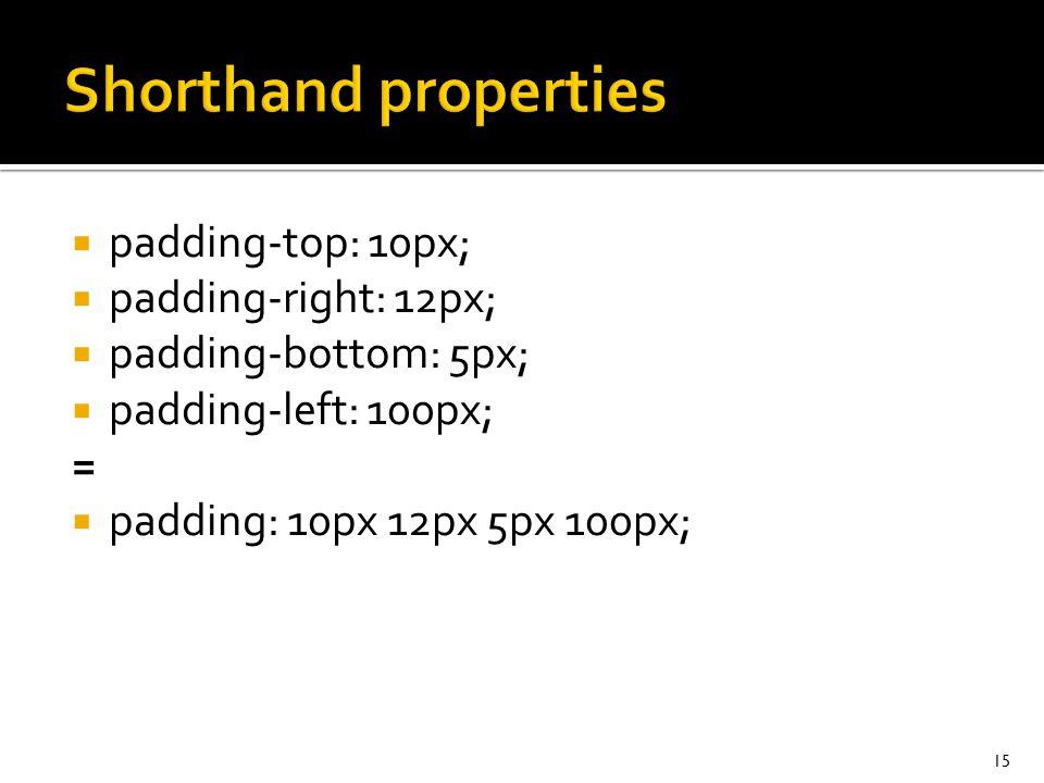  padding-top: 10px;  padding-right: 12px;  padding-bottom: 5px;  padding-left: 100px; =  padding: 10px 12px 5px 100px; 15
