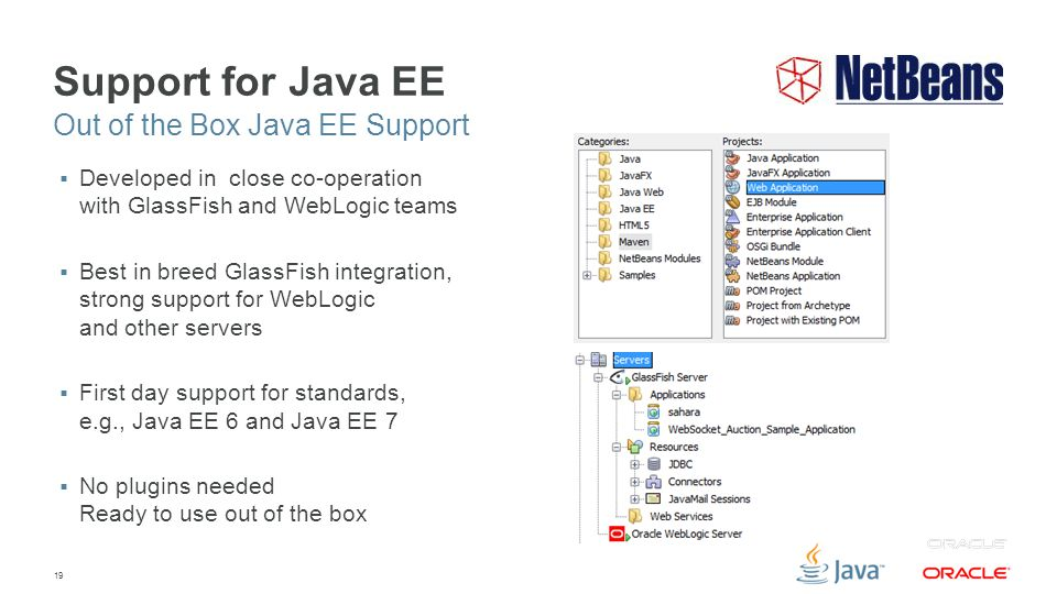 19 Support for Java EE  Developed in close co-operation with GlassFish and WebLogic teams  Best in breed GlassFish integration, strong support for WebLogic and other servers  First day support for standards, e.g., Java EE 6 and Java EE 7  No plugins needed Ready to use out of the box Out of the Box Java EE Support