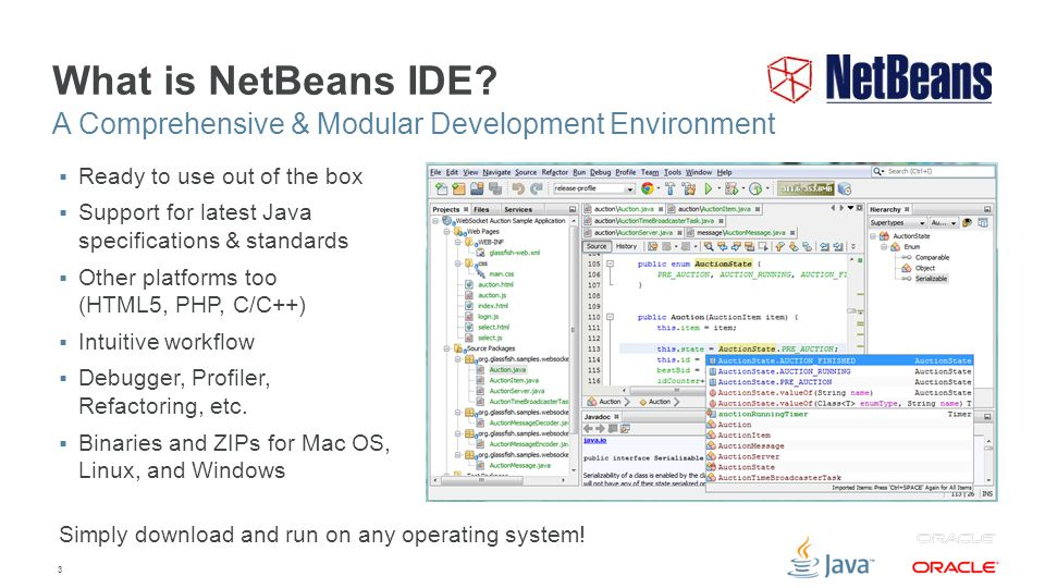 3 What is NetBeans IDE?  Ready to use out of the box  Support for latest Java specifications & standards  Other platforms too (HTML5, PHP, C/C++) 
