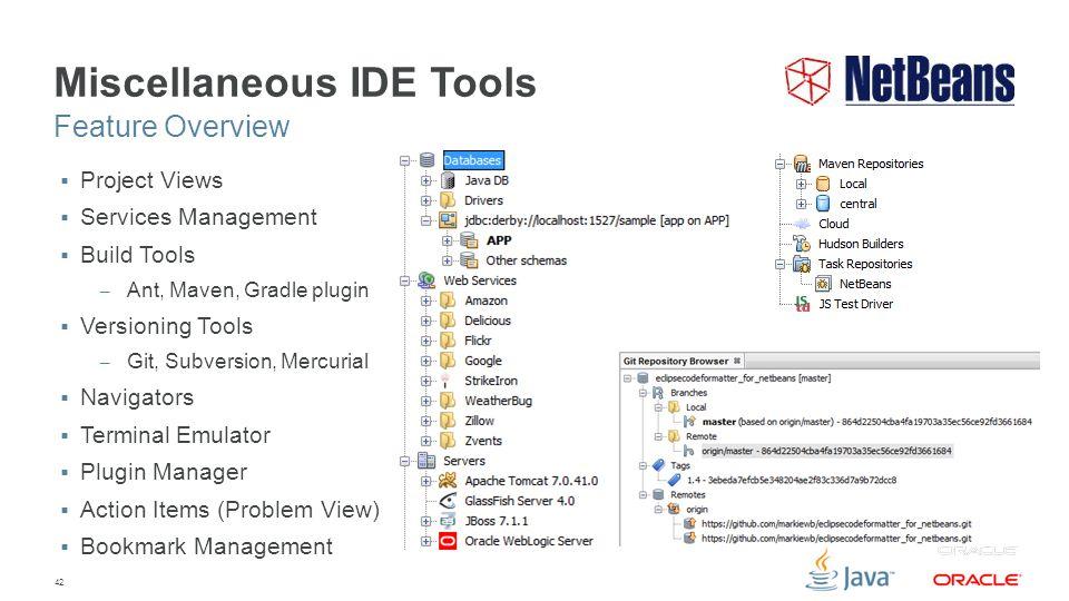 42 Miscellaneous IDE Tools  Project Views  Services Management  Build Tools – Ant, Maven, Gradle plugin  Versioning Tools – Git, Subversion, Mercurial  Navigators  Terminal Emulator  Plugin Manager  Action Items (Problem View)  Bookmark Management Feature Overview