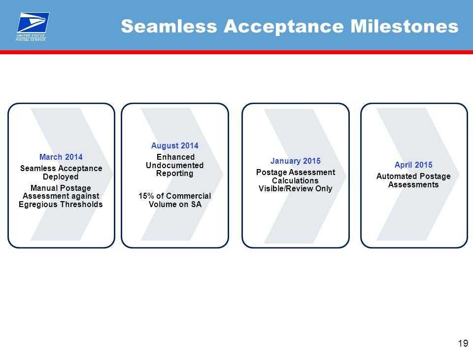Seamless Acceptance Milestones 19