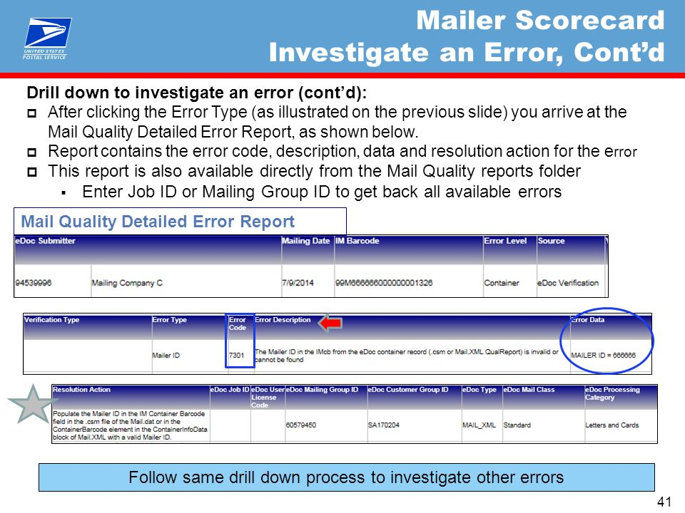 Drill down to investigate an error (cont'd):  After clicking the Error Type (as illustrated on the previous slide) you arrive at the Mail Quality Detailed Error Report, as shown below.