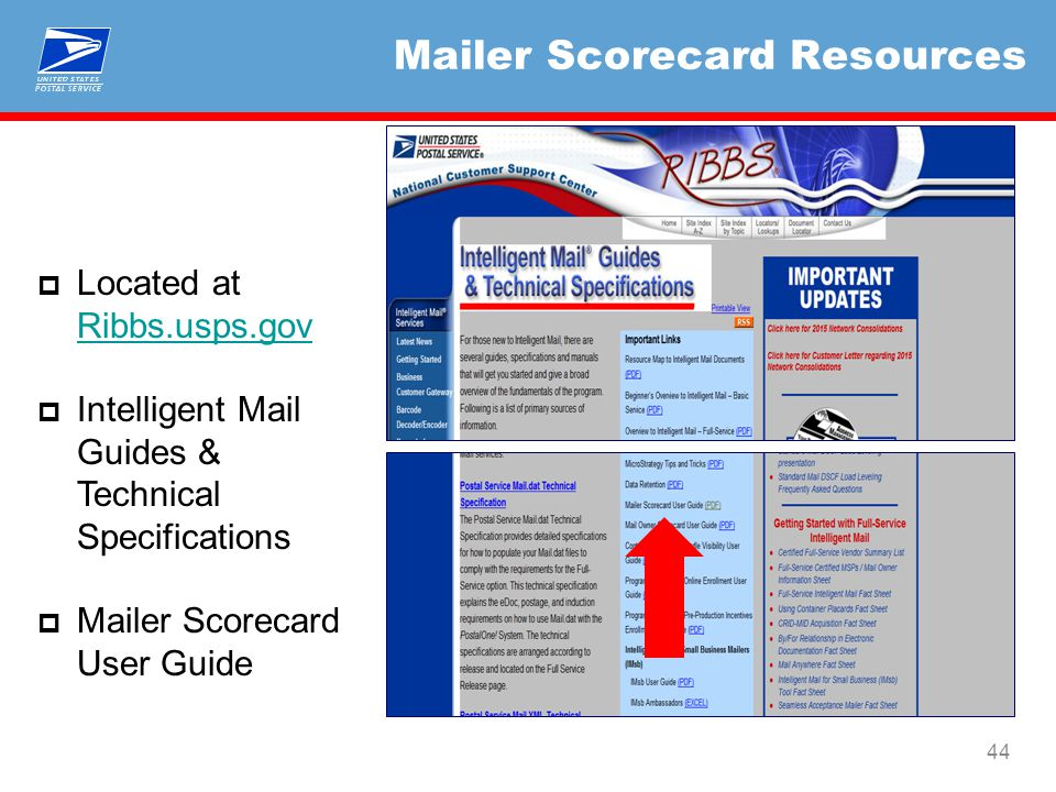Mailer Scorecard Resources 44  Located at Ribbs.usps.gov Ribbs.usps.gov  Intelligent Mail Guides & Technical Specifications  Mailer Scorecard User Guide