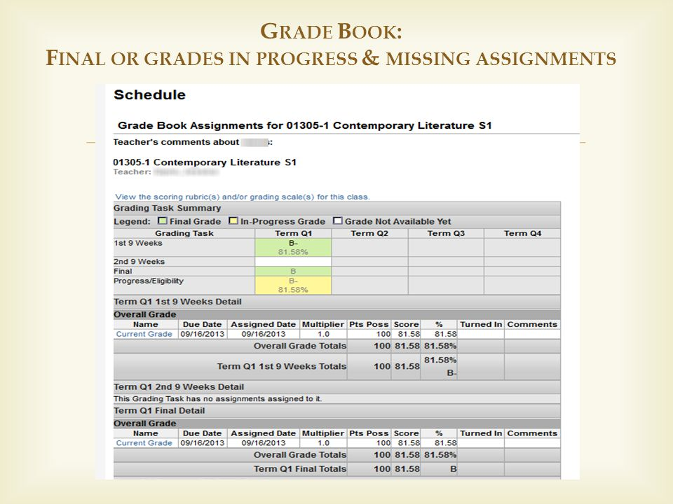  G RADE B OOK : F INAL OR GRADES IN PROGRESS & MISSING ASSIGNMENTS