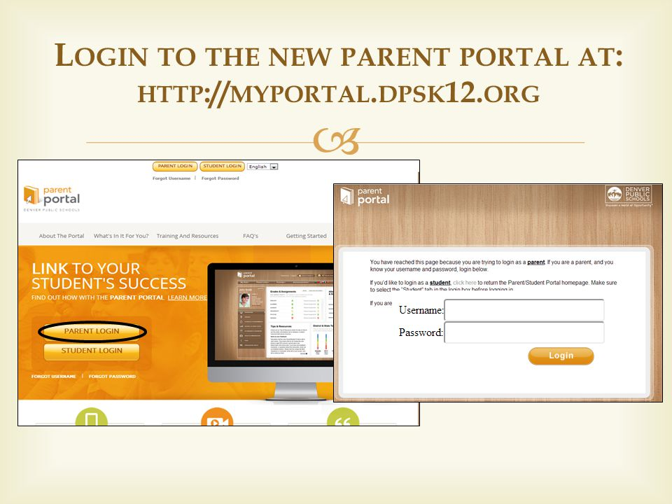 L OGIN TO THE NEW PARENT PORTAL AT : HTTP :// MYPORTAL. DPSK 12. ORG