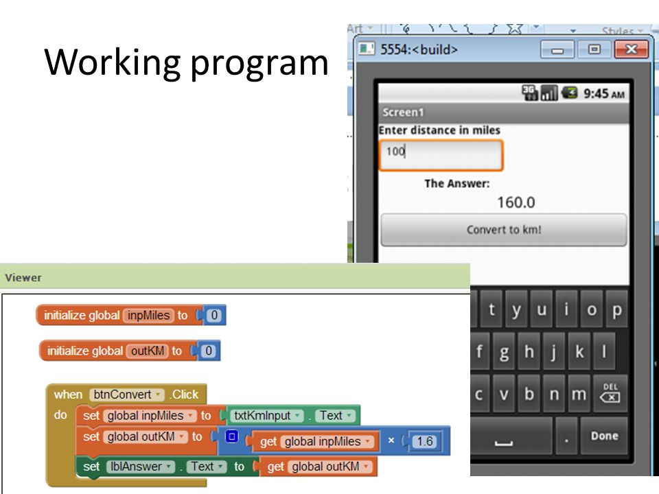 Working program