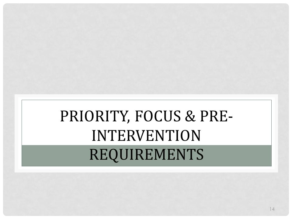PRIORITY, FOCUS & PRE- INTERVENTION REQUIREMENTS 14