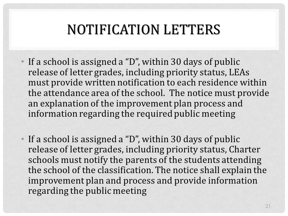 "NOTIFICATION LETTERS If a school is assigned a ""D"", within 30 days of public release of letter grades, including priority status, LEAs must provide wr"