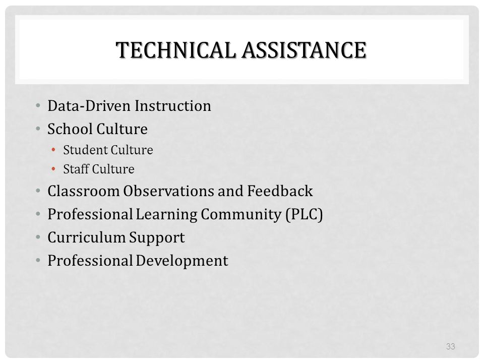 TECHNICAL ASSISTANCE Data-Driven Instruction School Culture Student Culture Staff Culture Classroom Observations and Feedback Professional Learning Co