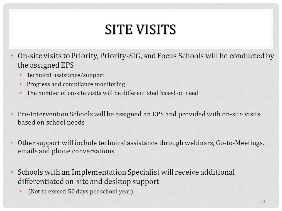 SITE VISITS On-site visits to Priority, Priority-SIG, and Focus Schools will be conducted by the assigned EPS Technical assistance/support Progress an