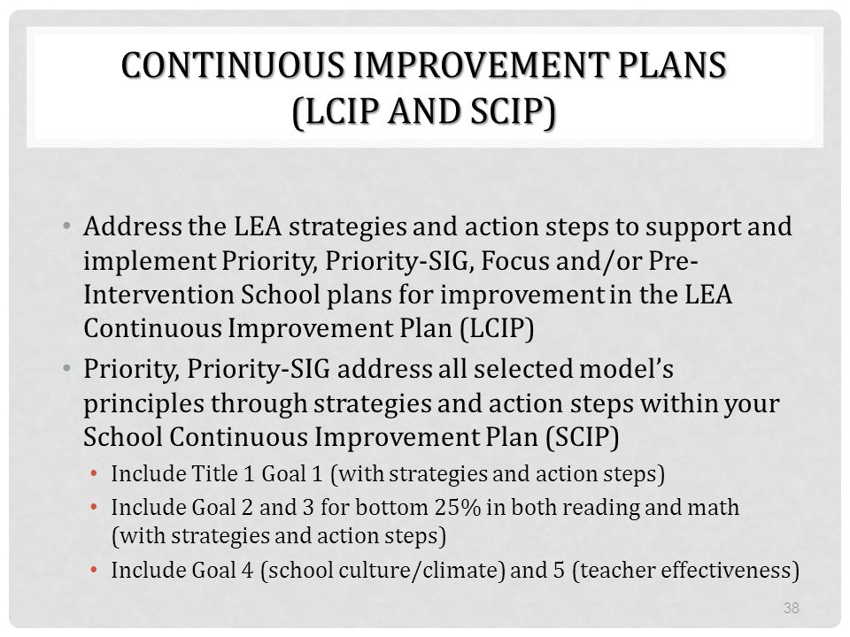 CONTINUOUS IMPROVEMENT PLANS (LCIP AND SCIP) Address the LEA strategies and action steps to support and implement Priority, Priority-SIG, Focus and/or