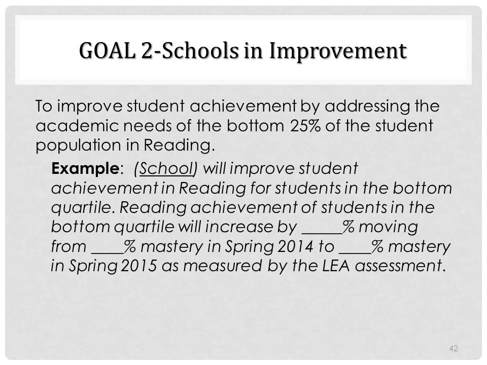GOAL 2-Schools in Improvement To improve student achievement by addressing the academic needs of the bottom 25% of the student population in Reading.