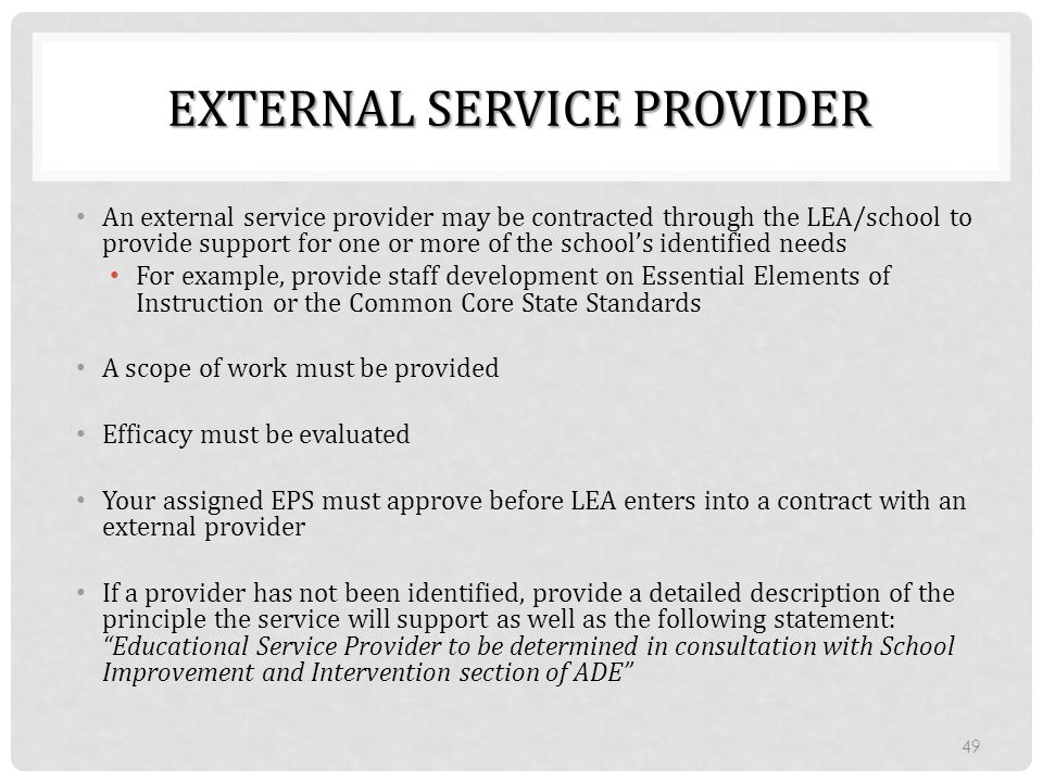 EXTERNAL SERVICE PROVIDER An external service provider may be contracted through the LEA/school to provide support for one or more of the school's ide