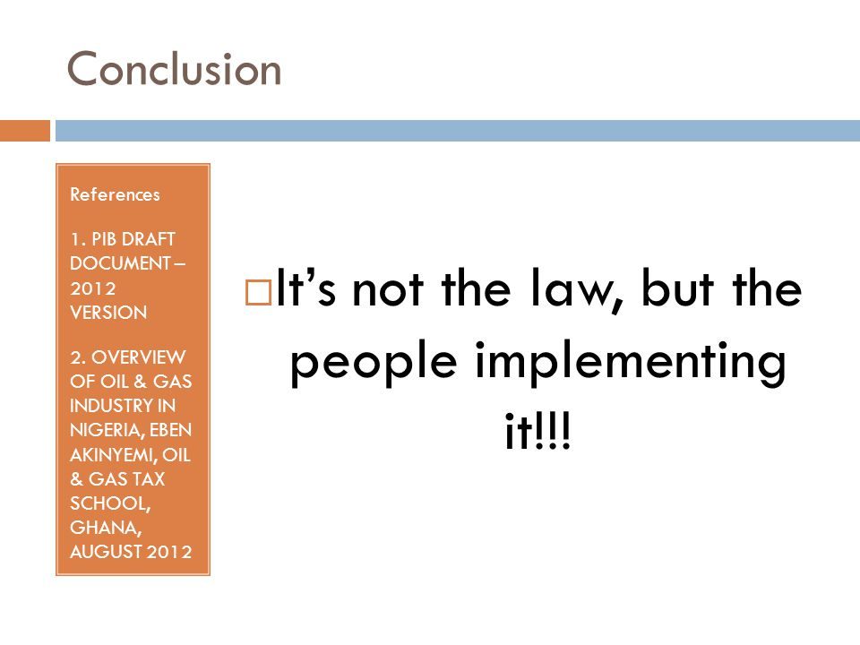 Conclusion References 1. PIB DRAFT DOCUMENT – 2012 VERSION 2.