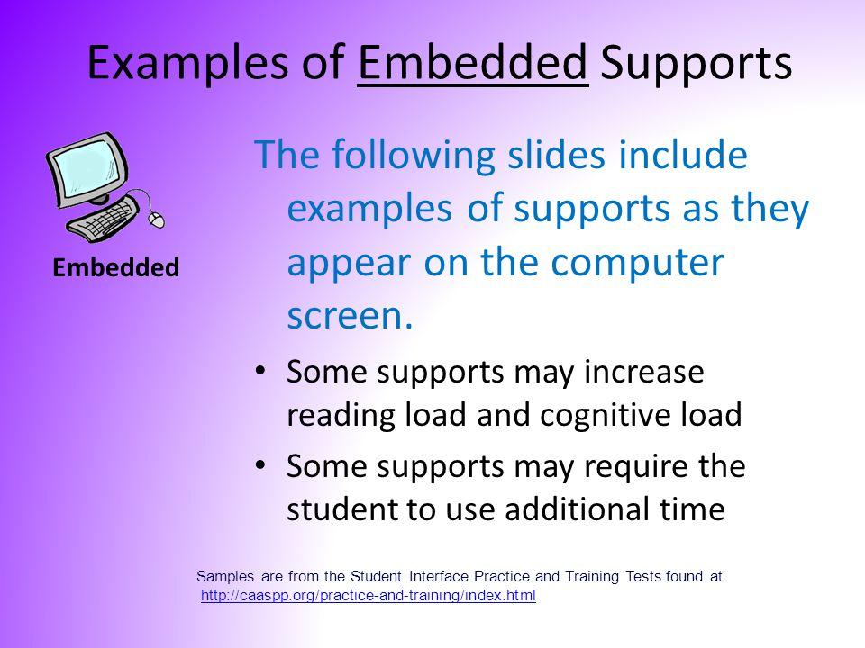 The following slides include examples of supports as they appear on the computer screen. Some supports may increase reading load and cognitive load So