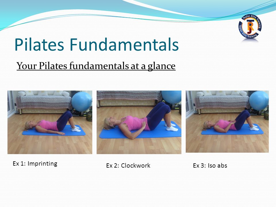 Pilates Fundamentals Your Pilates fundamentals at a glance Ex 1: Imprinting Ex 2: ClockworkEx 3: Iso abs