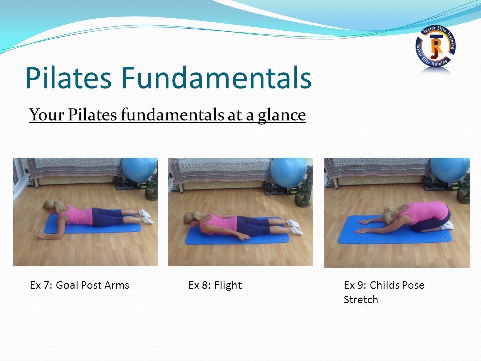 Pilates Fundamentals Your Pilates fundamentals at a glance Ex 7: Goal Post ArmsEx 8: FlightEx 9: Childs Pose Stretch