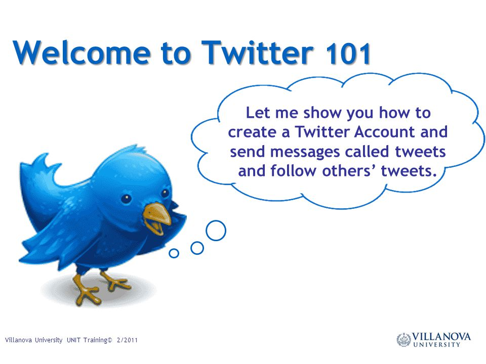 Welcome to Twitter 101 Let me show you how to create a Twitter Account and send messages called tweets and follow others' tweets.