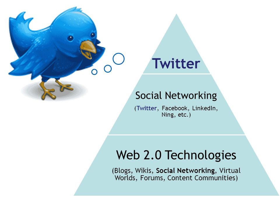 Twitter Social Networking (Twitter, Facebook, LinkedIn, Ning, etc.) Web 2.0 Technologies (Blogs, Wikis, Social Networking, Virtual Worlds, Forums, Con