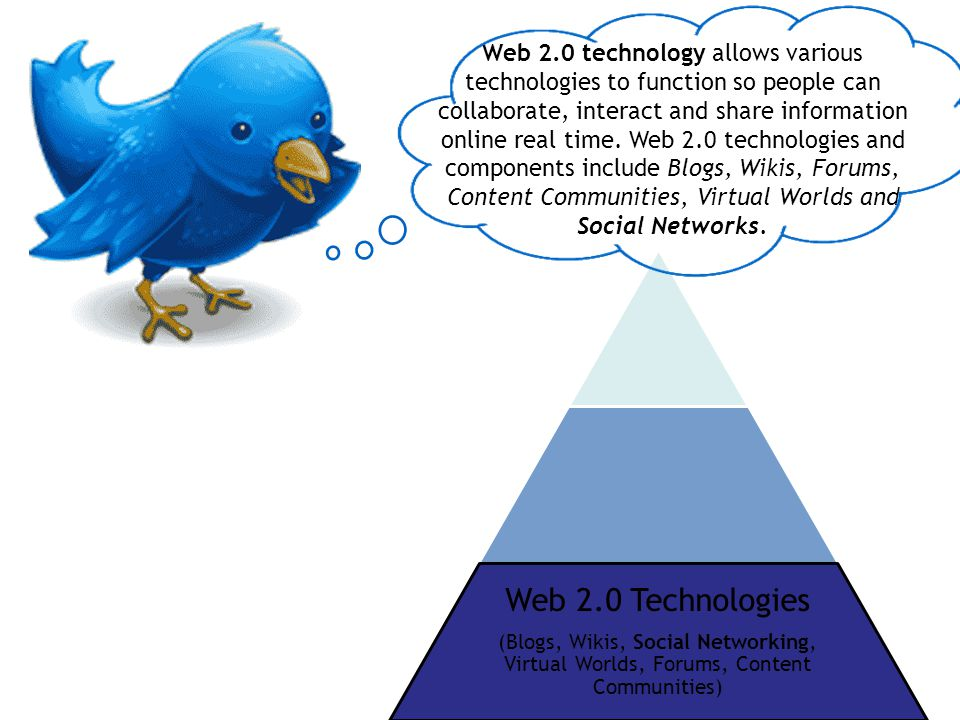 Web 2.0 technology allows various technologies to function so people can collaborate, interact and share information online real time.