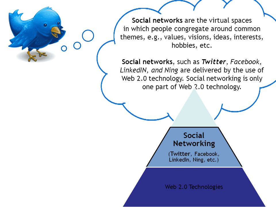 Social networks are the virtual spaces in which people congregate around common themes, e.g., values, visions, ideas, interests, hobbies, etc. Social