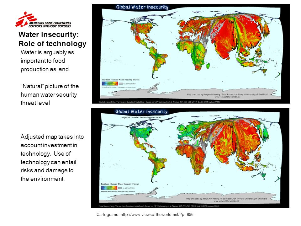"""Water insecurity: Role of technology Water is arguably as important to food production as land. """"Natural"""" picture of the human water security threat l"""