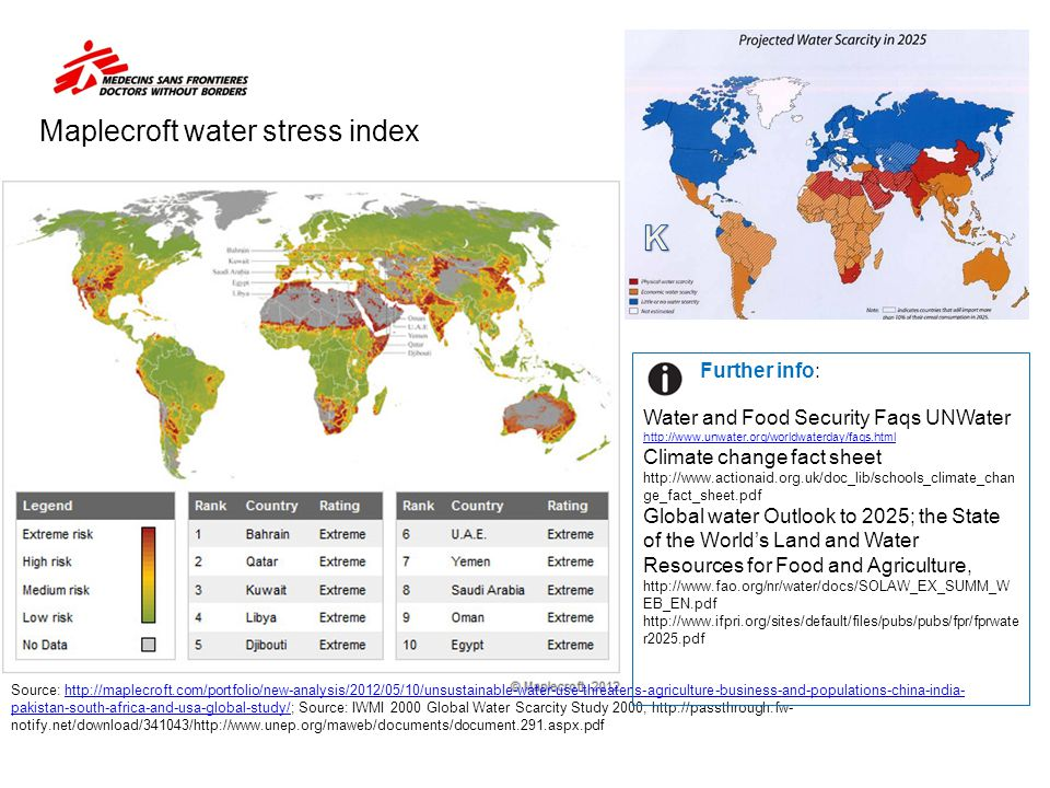 Maplecroft water stress index Source: http://maplecroft.com/portfolio/new-analysis/2012/05/10/unsustainable-water-use-threatens-agriculture-business-a