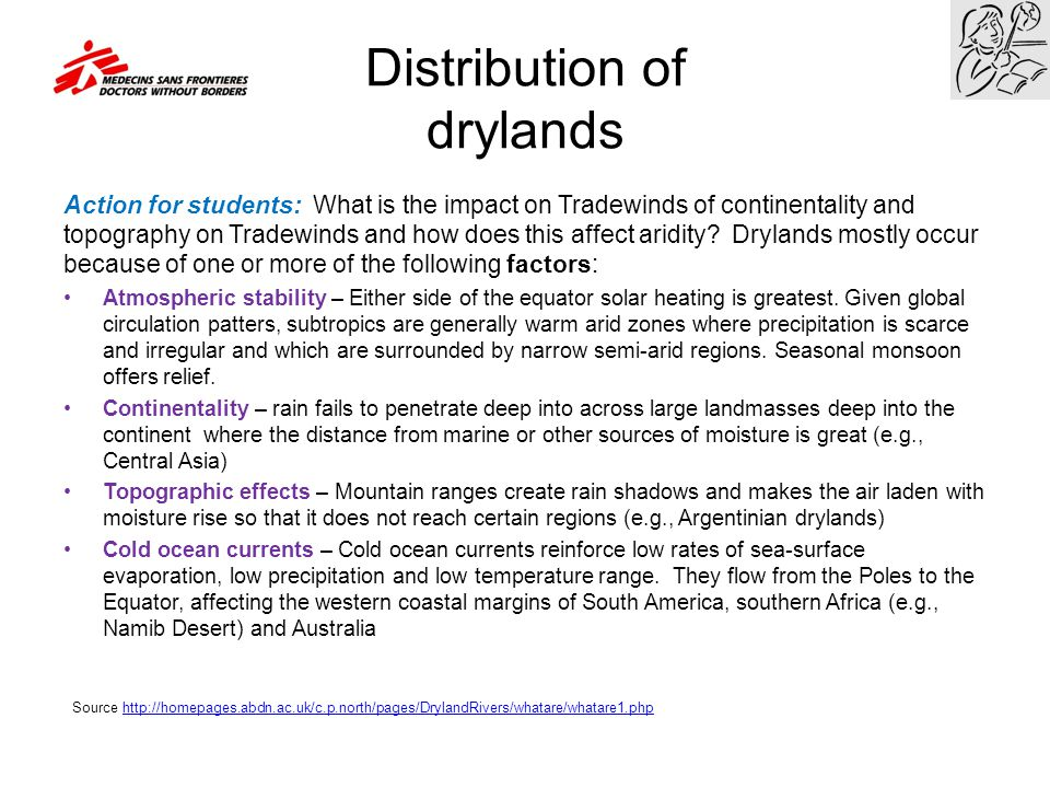 Distribution of drylands Action for students: What is the impact on Tradewinds of continentality and topography on Tradewinds and how does this affect