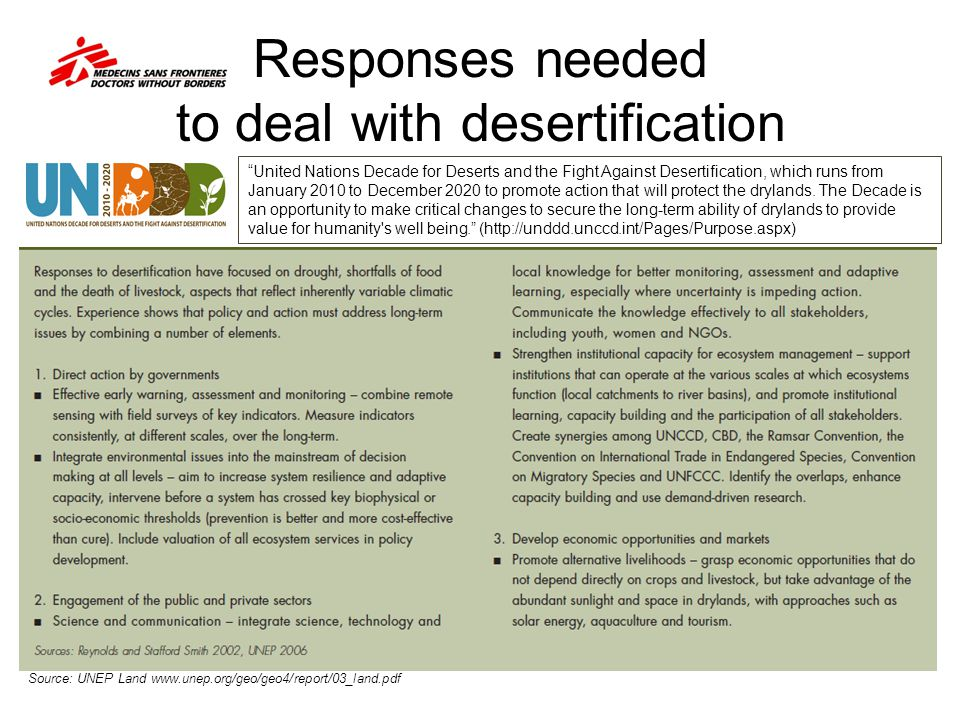 """Responses needed to deal with desertification Source: UNEP Land www.unep.org/geo/geo4/report/03_land.pdf """"United Nations Decade for Deserts and the F"""