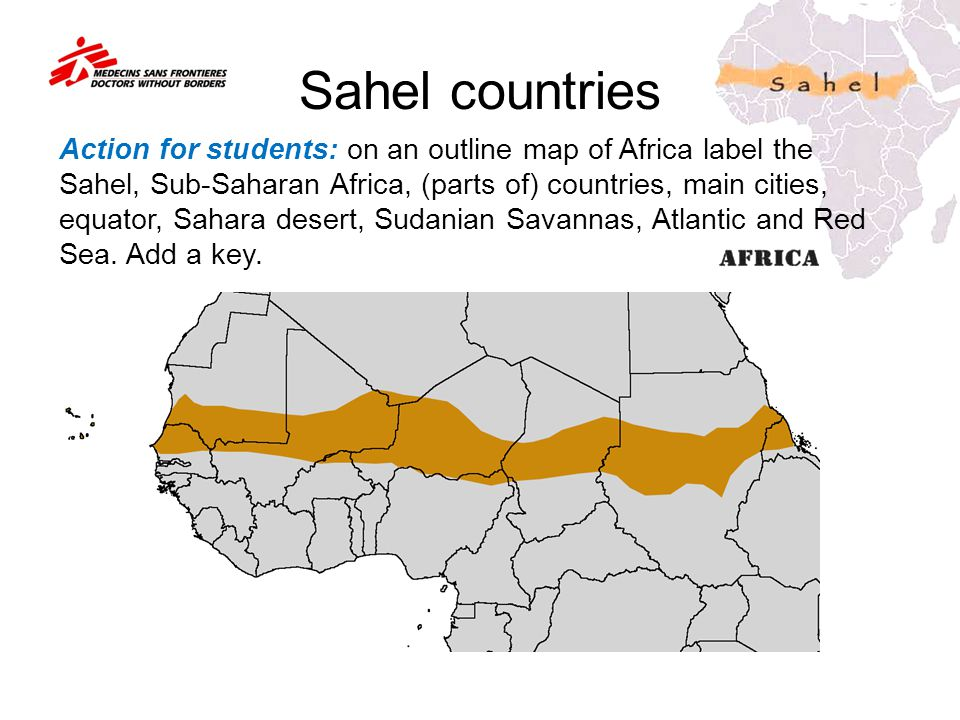 Sahel countries Action for students: on an outline map of Africa label the Sahel, Sub-Saharan Africa, (parts of) countries, main cities, equator, Saha