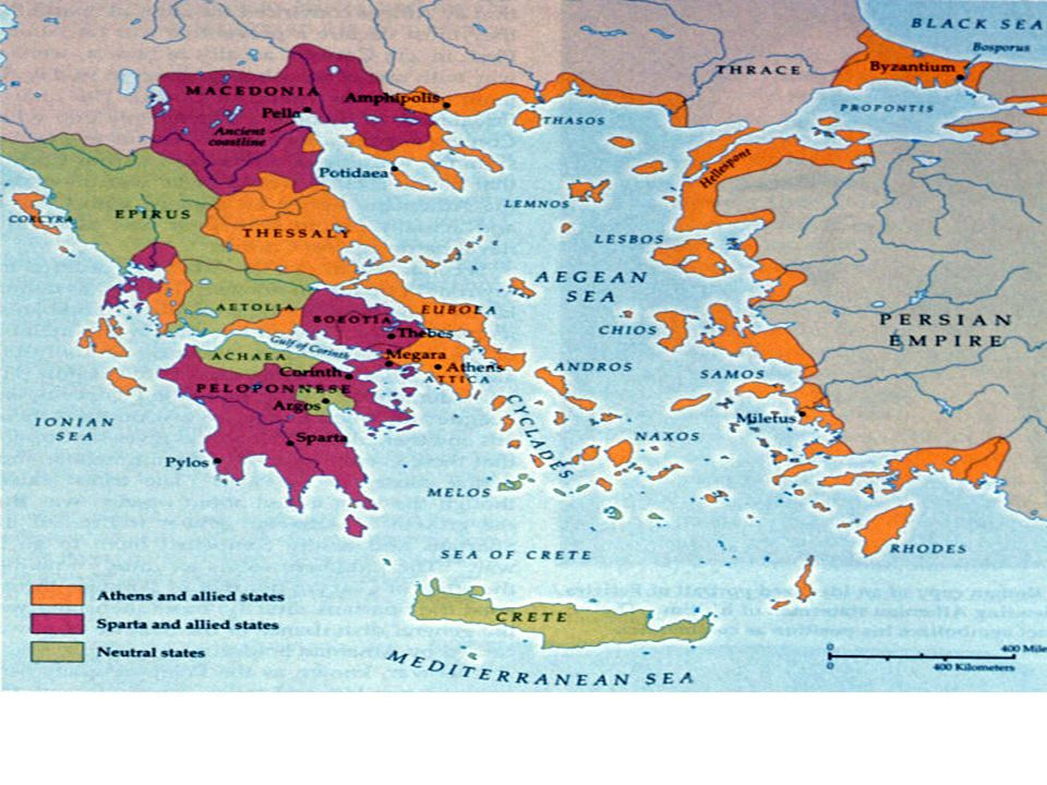 Geography of Greece It's a mountainous peninsula {piece of land that juts out onto a body of water} surrounded by the Mediterranean Sea Also Includes 2,000 islands in the Aegean and Ionian Seas Also included lands on the eastern edge of the Aegean Sea