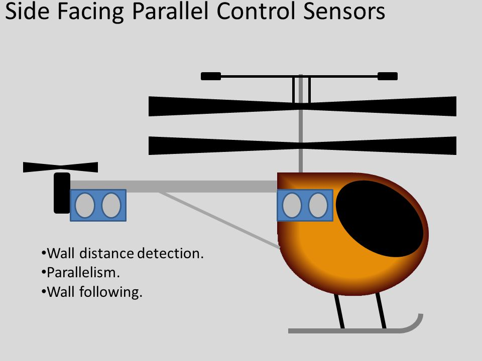 Side Facing Parallel Control Sensors Wall distance detection. Parallelism. Wall following.