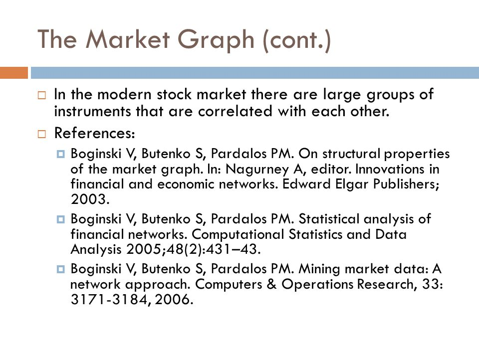 The Market Graph (cont.)  In the modern stock market there are large groups of instruments that are correlated with each other.  References:  Bogin