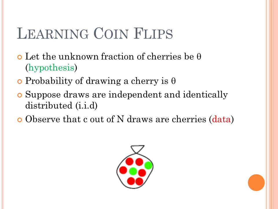 L EARNING C OIN F LIPS Let the unknown fraction of cherries be  (hypothesis) Probability of drawing a cherry is  Suppose draws are independent and i
