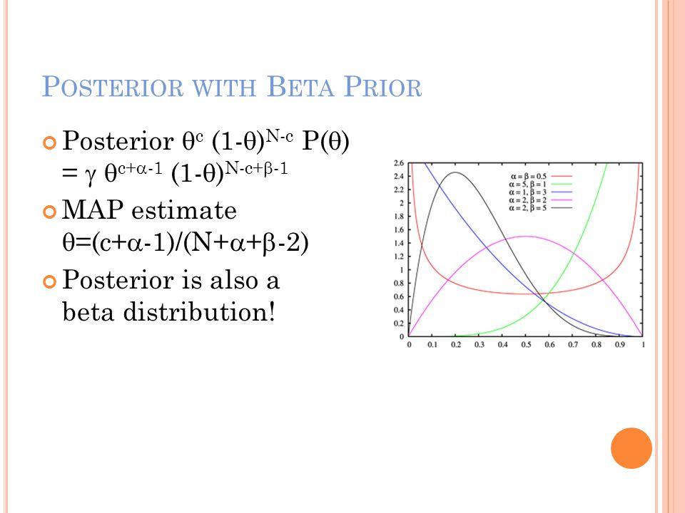 P OSTERIOR WITH B ETA P RIOR Posterior  c (1-  ) N-c P(  ) =   c+  -1 (1-  ) N-c+  -1 MAP estimate  =(c+  -1)/(N+  +  -2) Posterior is als