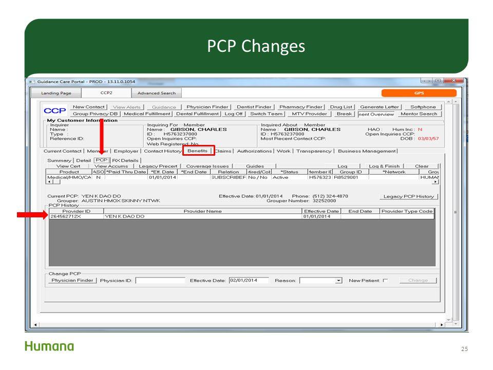 25 PCP Changes