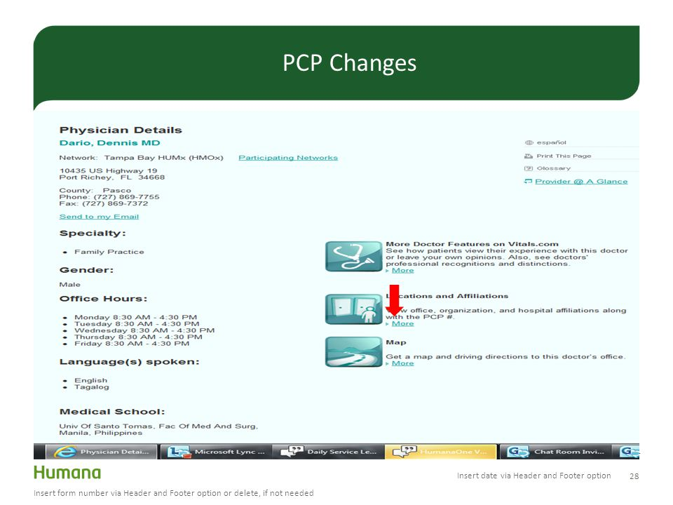 28 Insert form number via Header and Footer option or delete, if not needed PCP Changes Insert date via Header and Footer option
