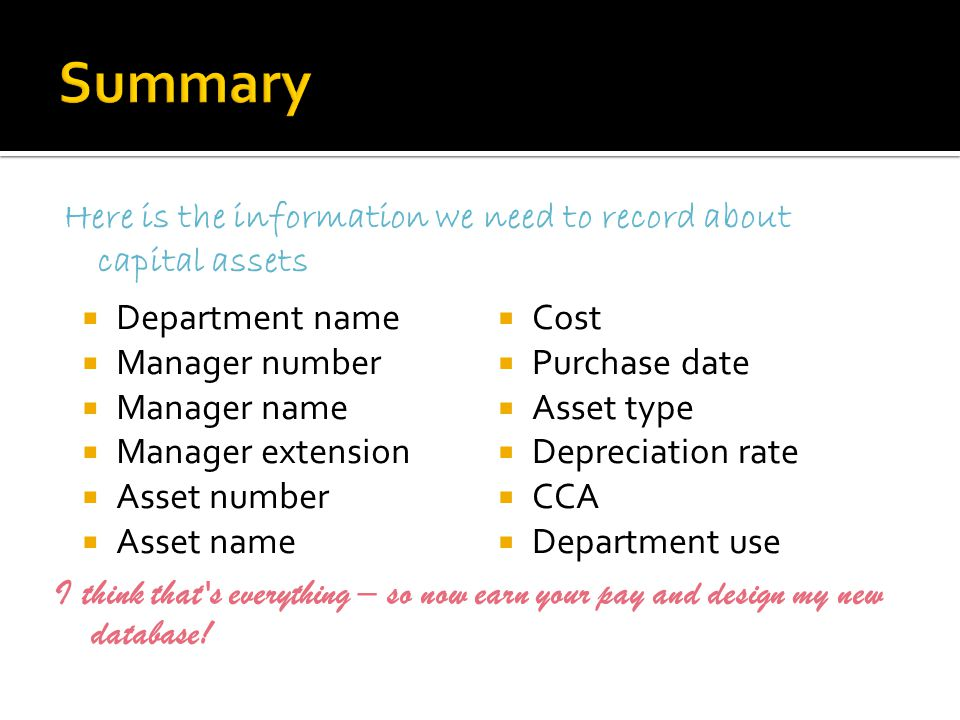 Here is the information we need to record about capital assets  Department name  Manager number  Manager name  Manager extension  Asset number 