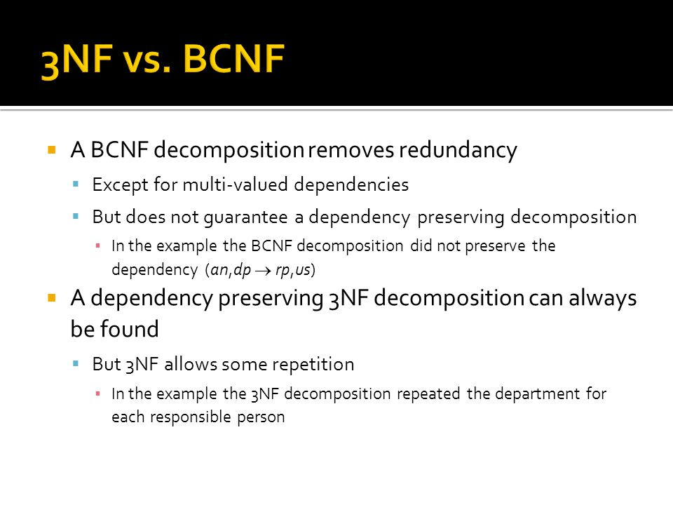  A BCNF decomposition removes redundancy  Except for multi-valued dependencies  But does not guarantee a dependency preserving decomposition ▪ In t