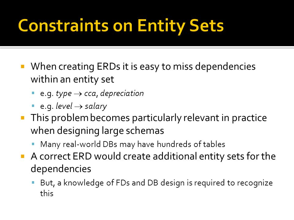  When creating ERDs it is easy to miss dependencies within an entity set  e.g. type  cca, depreciation  e.g. level  salary  This problem becomes