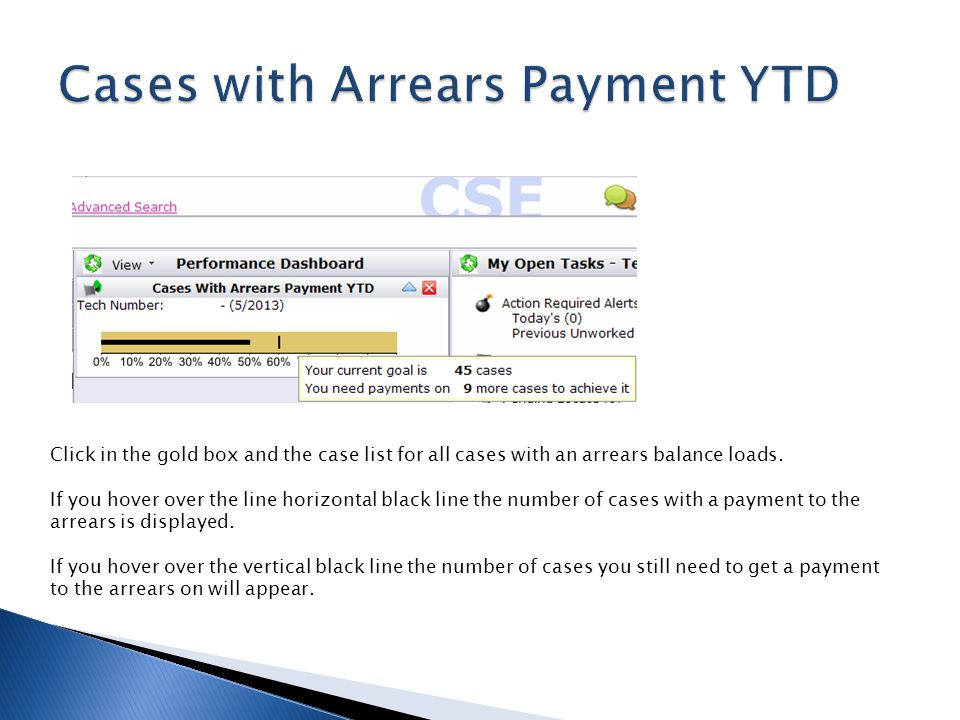 Click in the gold box and the case list for all cases with an arrears balance loads. If you hover over the line horizontal black line the number of ca