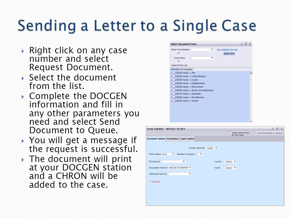  Right click on any case number and select Request Document.