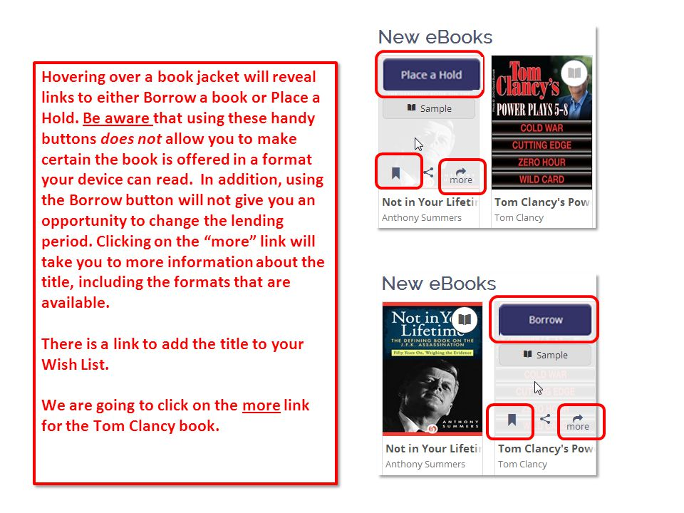 12 Hovering over a book jacket will reveal links to either Borrow a book or Place a Hold.