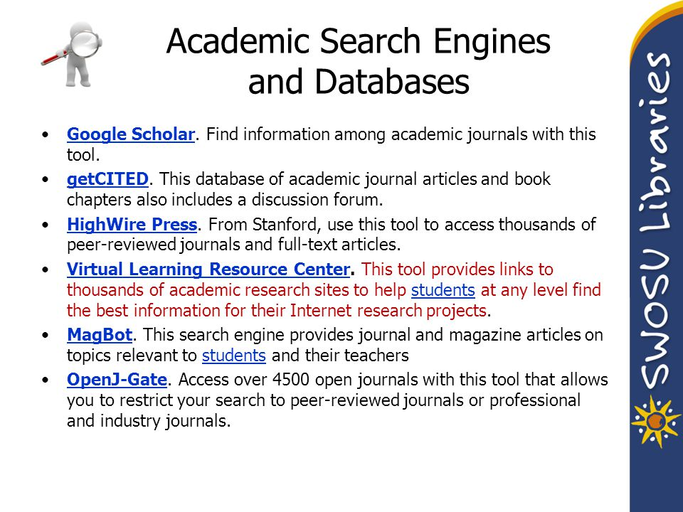 Academic Search Engines and Databases Google Scholar.