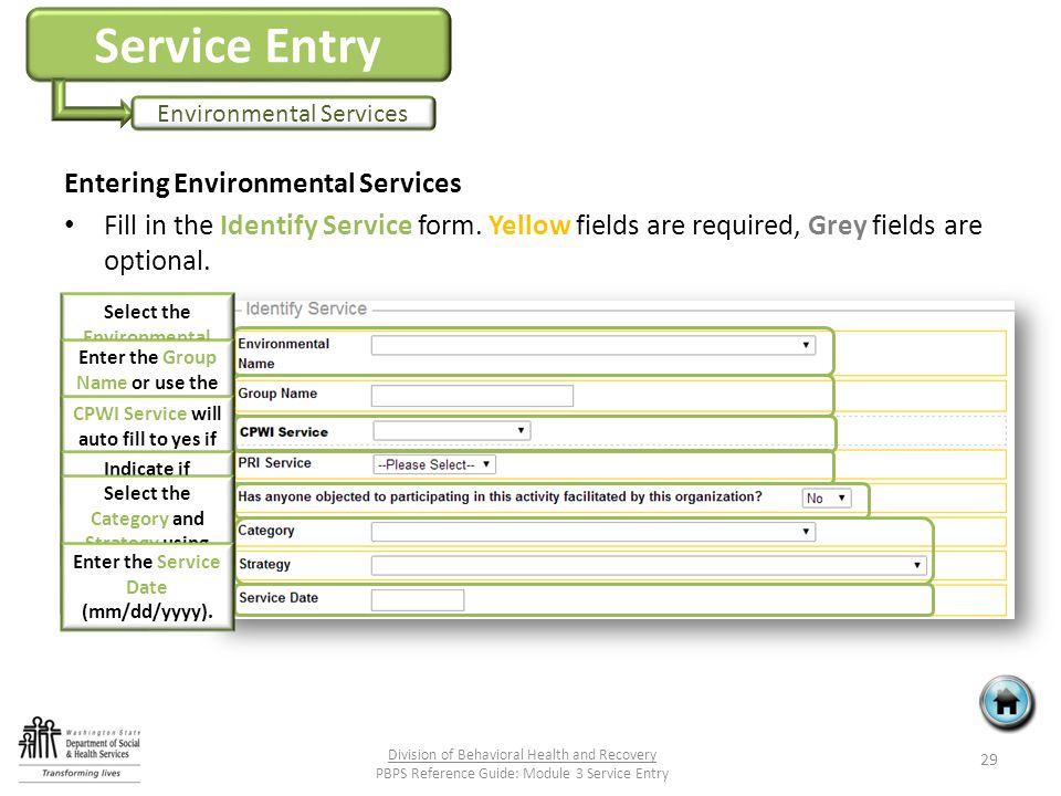 Service Entry Environmental Services Entering Environmental Services Fill in the Identify Service form.