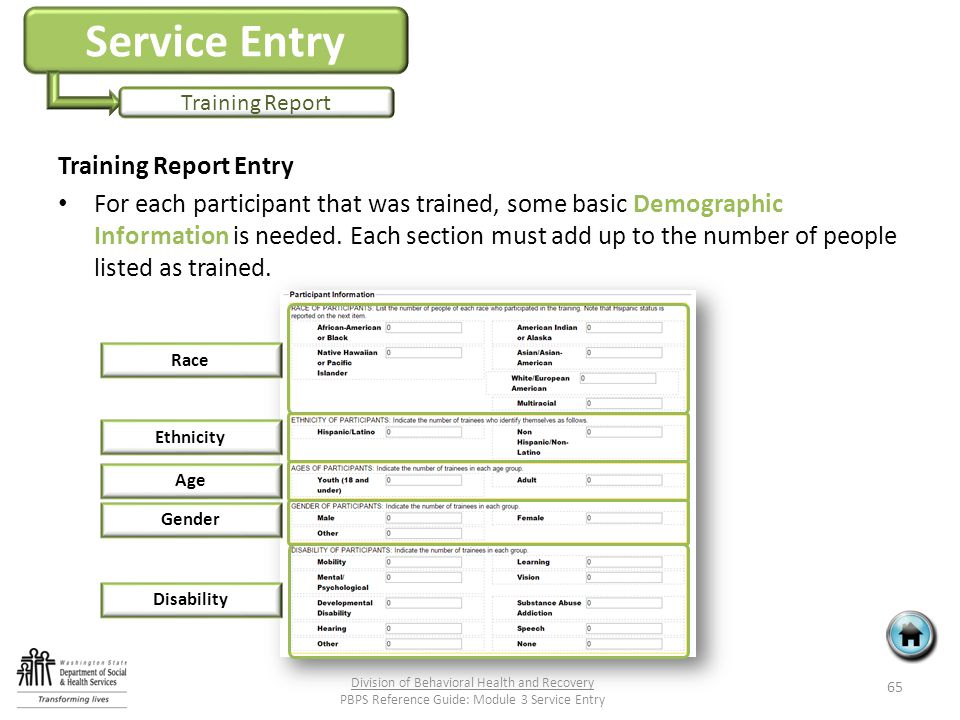 Service Entry Training Report Training Report Entry For each participant that was trained, some basic Demographic Information is needed.