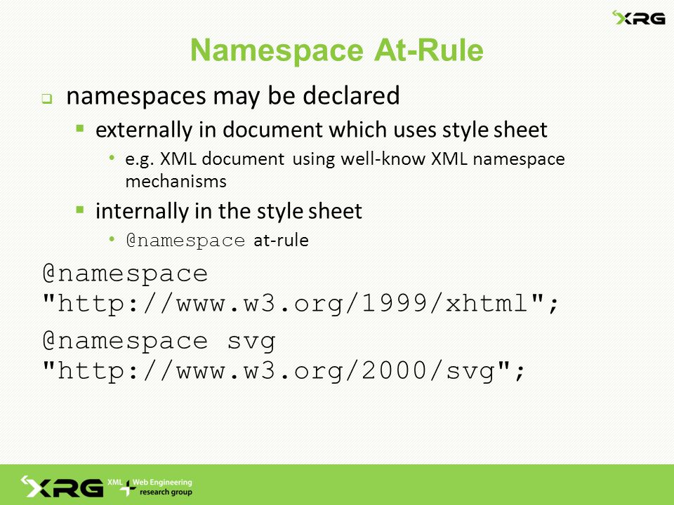 Namespace At-Rule  namespaces may be declared  externally in document which uses style sheet e.g.